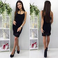 Короткое женское платье c французским кружевом внизу P6121