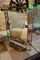 Кованое зеркало с полочкой большое., фото 1