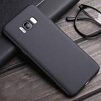Тонкий матовый силиконовый чехол для Samsung Galaxy S8 черный