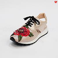 Женские кроссовки с вышивкой без пятки