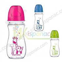 Бутылочка Canpol, 300 мл., антиколиковая с широким горлышком, EasyStart, Цветные зверята, Цвет Розовый