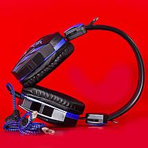 Игровая компьютерная гарнитура COSONIC CD-618 синяя с микрофоном LED подсветка USB джек 3.5 ноутбука телефона, фото 2