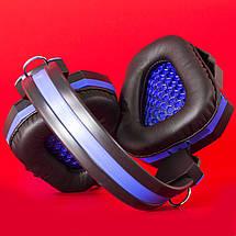 Игровая компьютерная гарнитура COSONIC CD-618 синяя с микрофоном LED подсветка USB джек 3.5 ноутбука телефона, фото 3