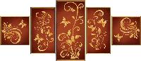 """Схема для вышивки бисером """"Цветочный шлейф"""", полиптих из 5 частей"""
