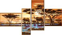 """Схема для вышивки бисером """"Африканские слоны"""", полиптих из 4 частей"""