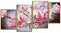 """Схема для вышивки бисером """"Магнолия"""", полиптих из 4 частей"""