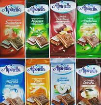 """Шоколад """"Alpinella"""" 8 вкусов в ассортименте Польша, 100 г."""