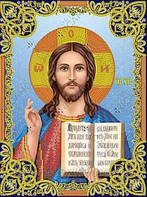 """Схема для вышивки бисером на габардине икона """"Иисус Христос"""""""