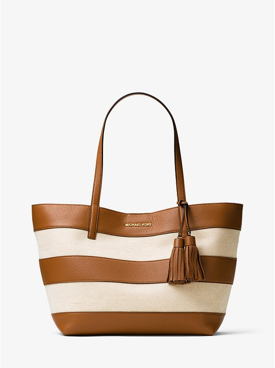 Сумка Michael Kors Large Canvas and Leather Tote Beige / Brown 30H6GUOT3C
