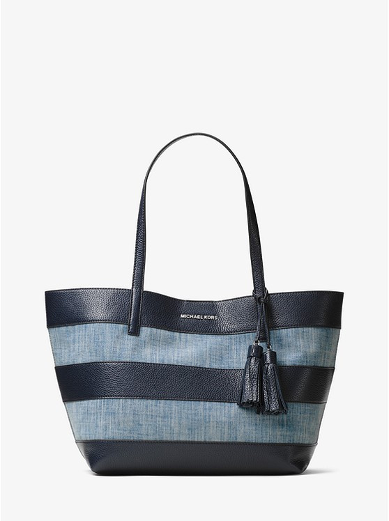 Сумка Michael Kors Large Canvas and Leather Tote Blue 30H6SUOT3C