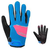 Перчатки женские Shimano Explorer длинные пальцы, сине-розовые, размер M