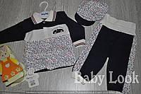 Комплект для малыша: кепка, кофточка, штанишки. Мягкий, красивый комплект для малыша с хлопка