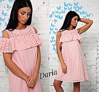 Платье женское летнее с воланом прошва хлопок 3 цвета SMch1481