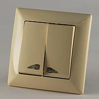 Выключатель двойной c подсветкой крем Gunsan VISAGE