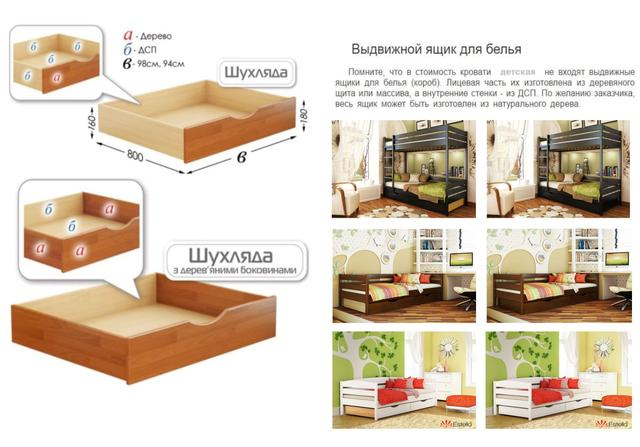 Кровать детская тм Эстелла (выдвижные ящики, в ассортименте)