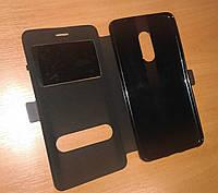 Чехол-книжка Xiaomi Redmi Note 4 Черный с двумя окошками, силиконовое крепление, магнитная застежка