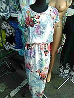 Платье женское длинное батал цветочный принт
