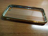 Чехол-накладка iPhone 5 5s SE Utty силиконовая прозрачная с золотым ободком