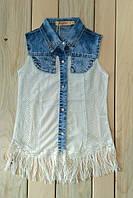 Джинсовая рубашка без рукавов со стразами на девочку на рост 134 см-164 см
