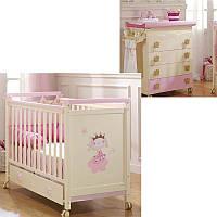 Комплект мебели для детской PETIT PRINCESSE (кроватка, комод, ящик) Розовый (PETITE PRINCESSE/K3)