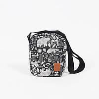 Мессенджер сумка через плечо черно-белая Tomen Mishka Black Red and Dog (сумка мужская, сумка женская)