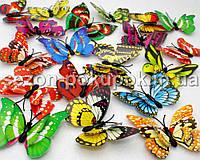 МАЛЕНЬКАЯ Объемная двойная  бабочка 3D для декора. Цена за 10 шт. MIX