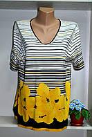 Трикотажная   летняя женская футболка большой размер