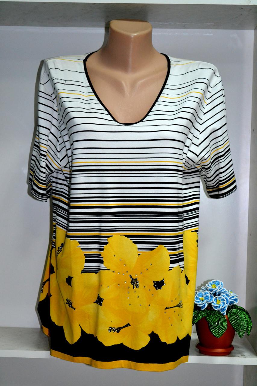 Трикотажная   летняя женская футболка большой размер, фото 1