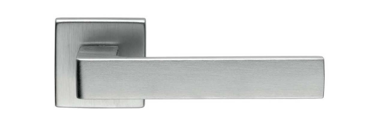 Ручка дверная dnd Martinelli   Quattro-Z 02 на квадратной розетке VIS, матовый хром, фото 2