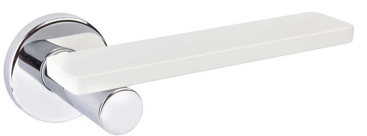 Ручка дверная dnd Martinelli    Minima на круглой розетке VIS, хром-белый