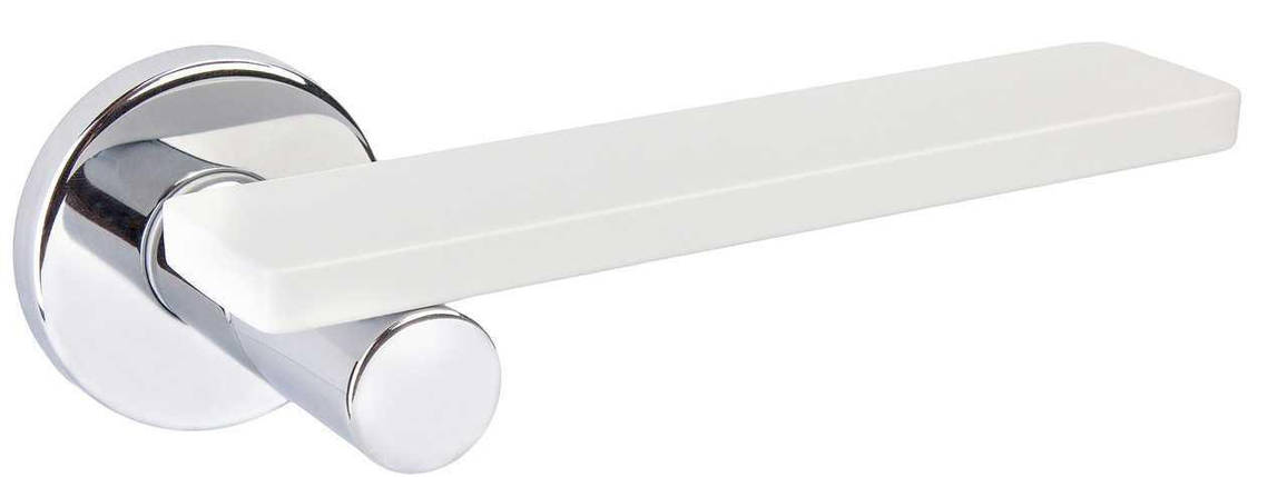 Ручка дверная dnd Martinelli    Minima на круглой розетке VIS, хром-белый, фото 2