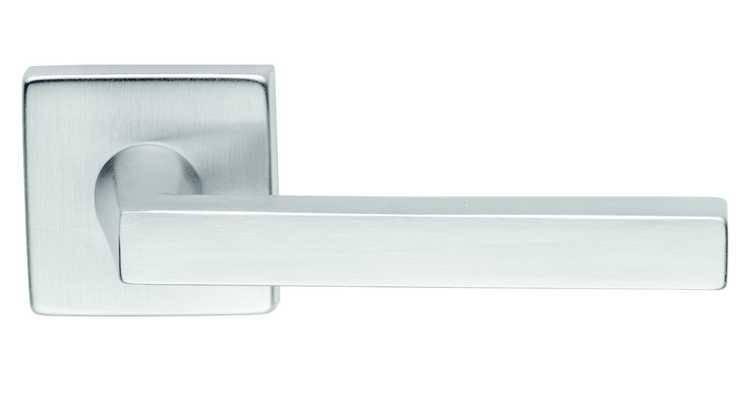 Ручка дверная dnd Martinelli   Artik на квадратной розетке VIS, матовый хром, фото 2