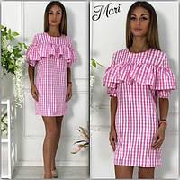 Платье женское модное в клетку с воланом хлопок 3 цвета 2SMmil1485