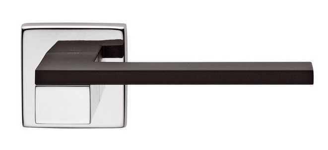 Ручка дверная dnd Martinelli   Esa на квадратной розетке VIS, хром-черный, фото 2