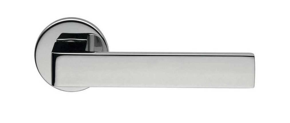 Ручка дверная dnd Martinelli   Quattro-Z на круглой розетке VIS, хром, фото 2