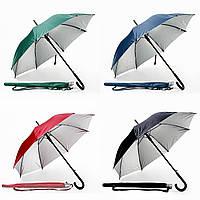 Зонт трость под нанесение логотипа, опт от 10 шт (полуавтомат, ручка дерево, 4 цвета)