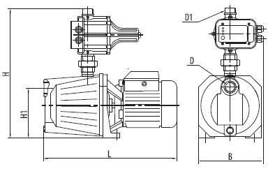 Бытовая насосная станция «Насосы + Оборудование» AUJSWm1B/E3 (A) размеры