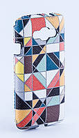 Чехол-накладка LG L60 X145 X147 Case Силиконовая с прозрачным бампером, белая со стразами и цветным рисунком