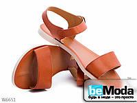 Стильные женские босоножки ZDW Brown из экокожи без лишних декоративных элементов коричневые