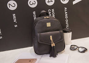 Молодежный городской рюкзак с кисточками и переплетом, фото 2