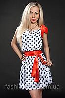 Шифоновое женское платье в горошек