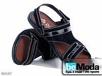 Стильные мужские сандалии Black из нубука с лакированными вставками черные