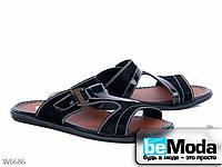 Эффектные мужские сандалии Black из нубука с лакированными вставками без застежек черные