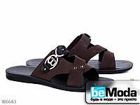 Модные мужские сандалии Brown из нубука с декоратиными пряжками коричневые