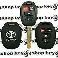 Чехол (черный, силиконовый) для авто ключа Toyota (Тойота) 4 кнопки