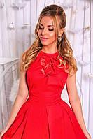 Платье Беби-Дол миди на подъюпнике красное