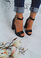Босоножки на каблуке натуральная кожа/замш