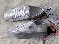 Слипоны Криперы Конверсы кожаные кроссовки на платформе черные серебряные золотые
