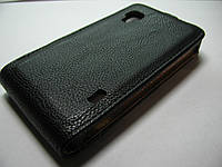 Чехол-флип LG L9 P760 P765 Melkco черный кожа
