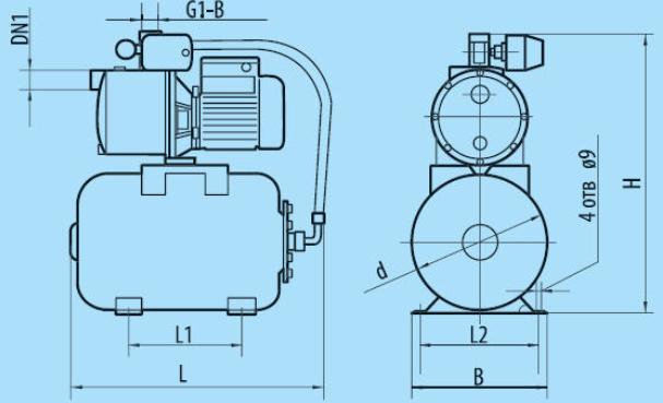 Бытовая насосная станция «Насосы + Оборудование» AUJS 110/19L размеры
